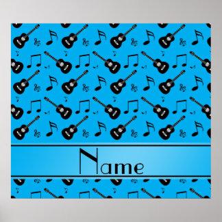 Custom name sky blue black guitars music notes posters