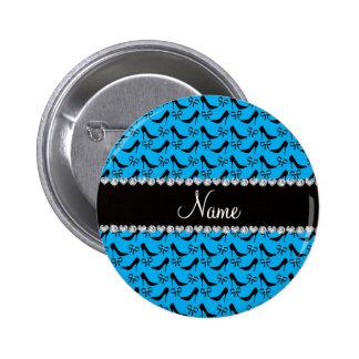 Custom name sky blue black high heels bow diamond 2 inch round button