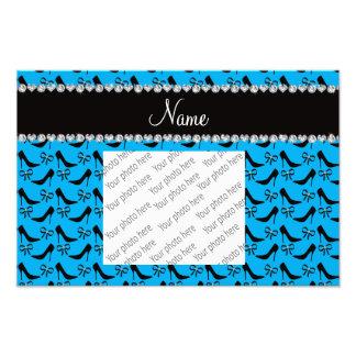 Custom name sky blue black high heels bow diamond photo art