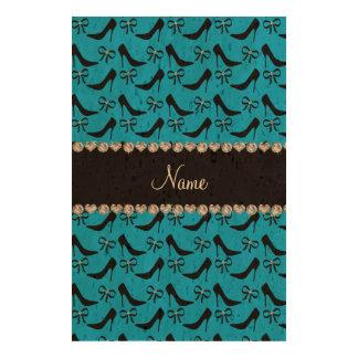 Custom name sky blue black high heels bow diamond cork paper prints