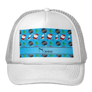 Custom name sky blue bowling christmas pattern trucker hat