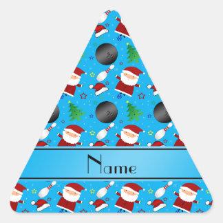 Custom name sky blue bowling christmas pattern triangle sticker