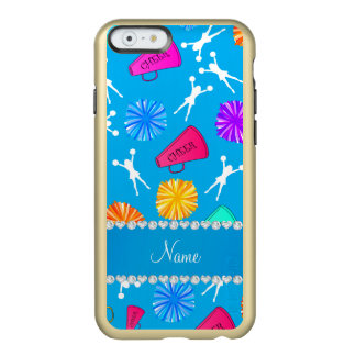 Custom name sky blue cheerleading pompoms incipio feather shine iPhone 6 case