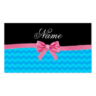 Custom name sky blue chevrons pink bow business card template