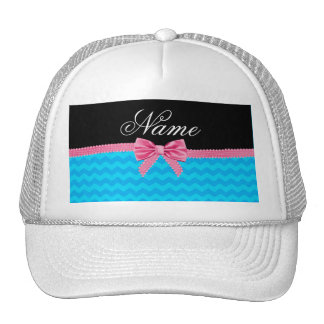 Custom name sky blue chevrons pink bow trucker hats