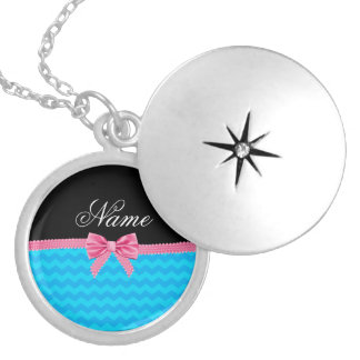 Custom name sky blue chevrons pink bow round locket necklace