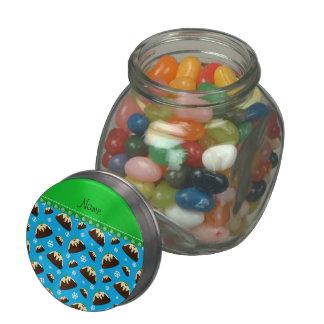 Custom name sky blue christmas pudding pattern glass jars