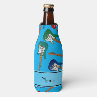 Custom name sky blue colorful electric guitars bottle cooler