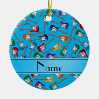 Custom name sky blue colorful electric guitars ceramic ornament
