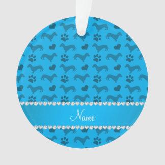 Custom name sky blue dachshunds hearts paws