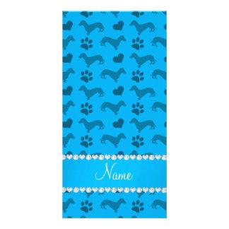 Custom name sky blue dachshunds hearts paws customized photo card