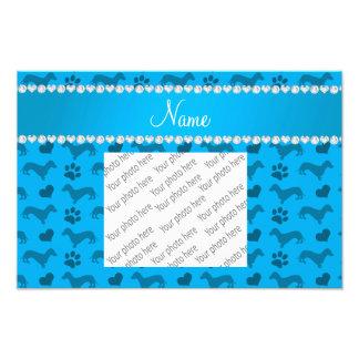 Custom name sky blue dachshunds hearts paws photograph