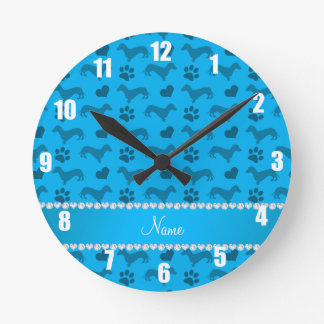 Custom name sky blue dachshunds hearts paws round clock