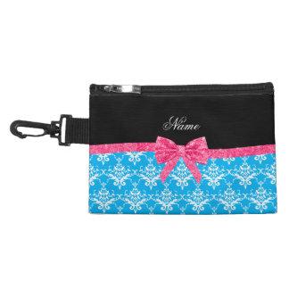 Custom name sky blue damask pink glitter bow accessory bag
