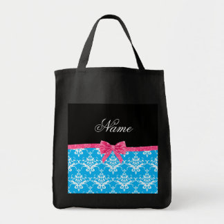 Custom name sky blue damask pink glitter bow canvas bag