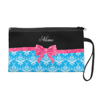 Custom name sky blue damask pink glitter bow wristlet purse