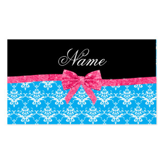 Custom name sky blue damask pink glitter bow business card template