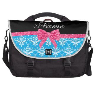 Custom name sky blue damask pink glitter bow commuter bag
