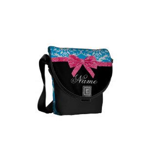Custom name sky blue damask pink glitter bow courier bag