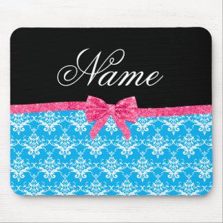 Custom name sky blue damask pink glitter bow mouse pad