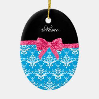 Custom name sky blue damask pink glitter bow ornament