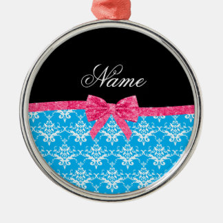 Custom name sky blue damask pink glitter bow christmas ornaments