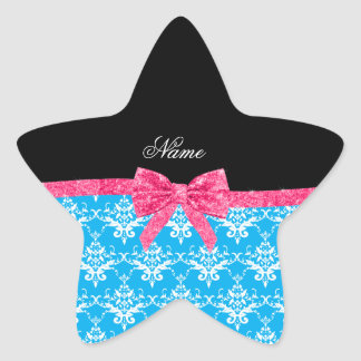 Custom name sky blue damask pink glitter bow star stickers