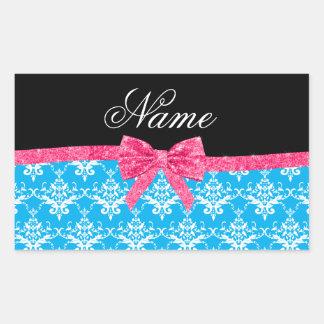 Custom name sky blue damask pink glitter bow sticker