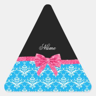 Custom name sky blue damask pink glitter bow stickers