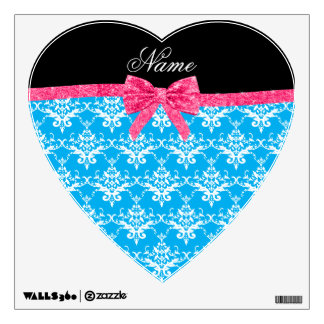 Custom name sky blue damask pink glitter bow room graphic