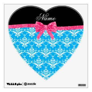 Custom name sky blue damask pink glitter bow room graphics