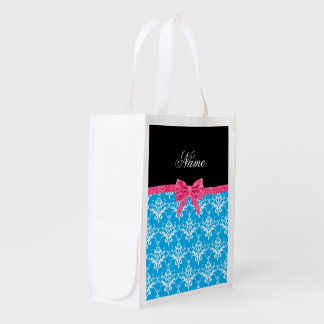 Custom name sky blue damask pink glitter bow reusable grocery bags
