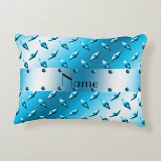Custom name sky blue diamond plate steel accent pillow