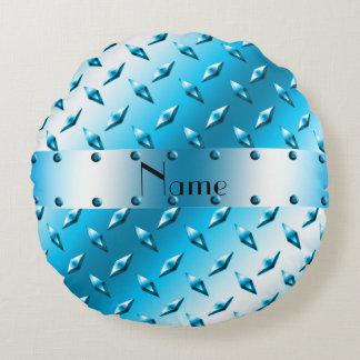 Custom name sky blue diamond plate steel round pillow