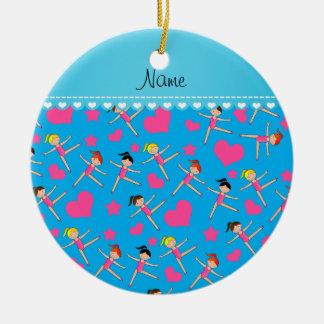Custom name sky blue girl gymnasts hearts stars ceramic ornament