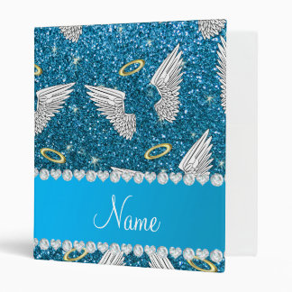 Custom name sky blue glitter angel wings 3 ring binder