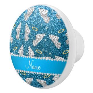 Custom name sky blue glitter angel wings ceramic knob