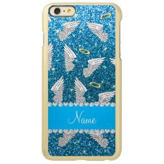 Custom name sky blue glitter angel wings incipio feather® shine iPhone 6 plus case