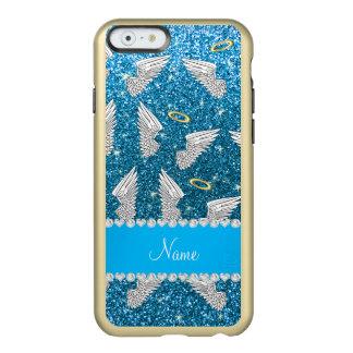 Custom name sky blue glitter angel wings incipio feather® shine iPhone 6 case