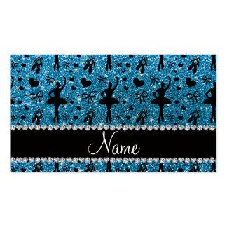 Custom name sky blue glitter ballerinas business card