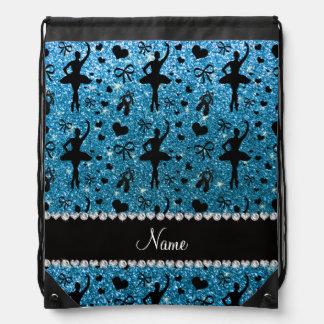 Custom name sky blue glitter ballerinas drawstring bags