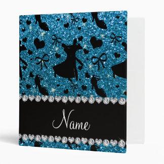 Custom name sky blue glitter ballroom dancing binder
