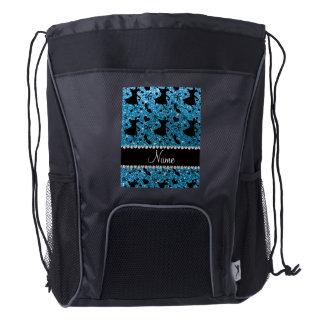 Custom name sky blue glitter ballroom dancing drawstring backpack