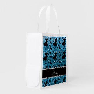 Custom name sky blue glitter ballroom dancing grocery bags