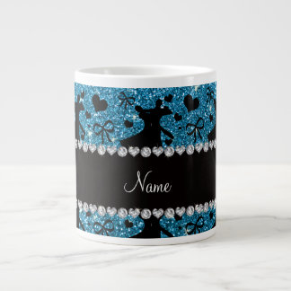 Custom name sky blue glitter ballroom dancing large coffee mug