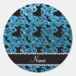 Custom name sky blue glitter ballroom dancing classic round sticker