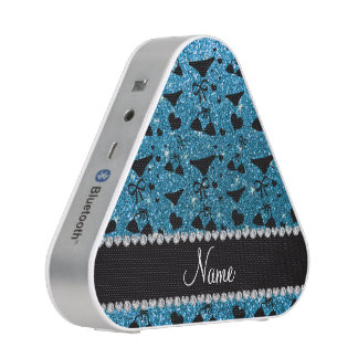Custom name sky blue glitter bikini bows bluetooth speaker