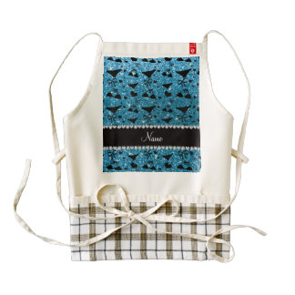 Custom name sky blue glitter bikini bows zazzle HEART apron