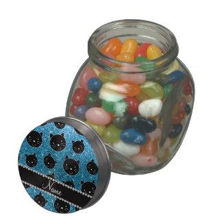 Custom name sky blue glitter black cat faces glass candy jar