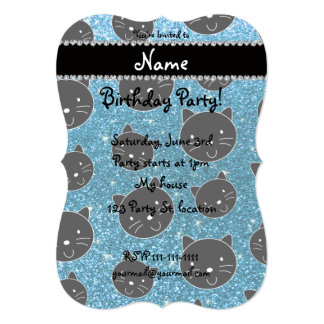 Custom name sky blue glitter black cat faces 5x7 paper invitation card